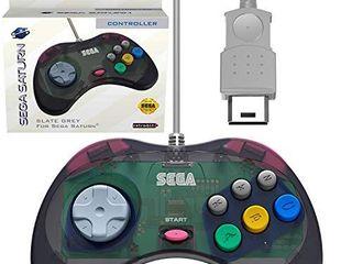 Retro Bit Official Sega Saturn Controller Pad for Sega Saturn   Original Port   Slate Grey