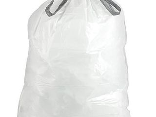 Plasticplace simplehuman  x  Code V Compatible  100 Count  Drawstring Garbage liners 4 2 4 8 Gallon   16 18 liter 14 75  x 28  White