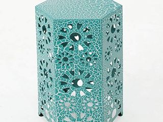 Christopher Knight Home Eliana Outdoor 14  Sunburst Iron Side Table  Crackle Teal