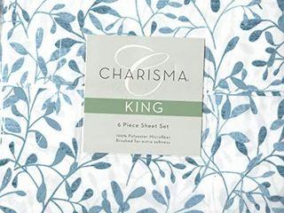 Charisma Microfiber King 6 Piece Sheet Set Willow Indigo Brushed for Extra Softness