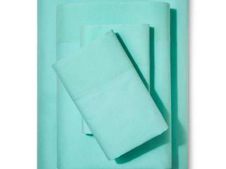 Solid Cotton Sheet Set  Queen  Green 4pc   Pillowfort