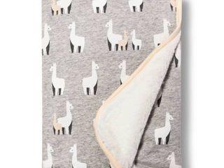Jersey Knit Faux Fur Blanket llamas   Cloud Island Blue White