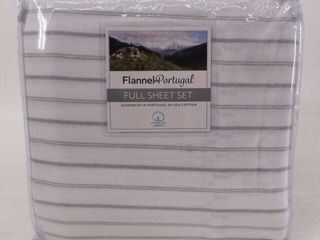 Flannel From Portugal 4 Piece Full Sheet Set 100  Cotton White With Gray Stripe