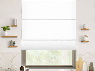 Chicology Runway Ready Made White Cordless light Filtering Magnetic Fabric Roman Shade 48 in  W x 64 in  l  Runway White  light Filtering