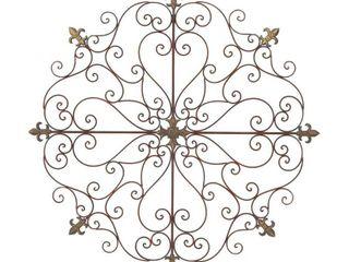 Decmode Rustic 42 Inch Fleur De lis Metal Wall Decor