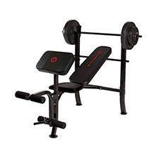 Marcy Pro MKB 2081 Home Gym Standard Weight Bench w  80 Pound Weight Set  Black