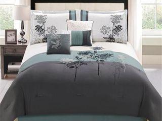 Hallmart Collectibles 77053 Evelyn leaf King Comforter Set   8 Piece