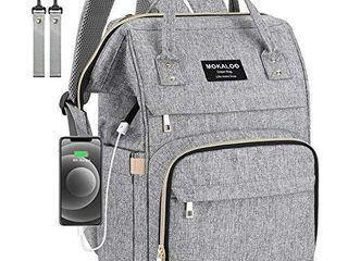 Diaper Bag Backpack  Mokaloo large Baby Bag  Multi functional Travel Back Pack  Anti Water Maternity Nappy Bag Changing Bags with Insulated Pockets Stroller Straps and Built in USB Charging Port  Gray