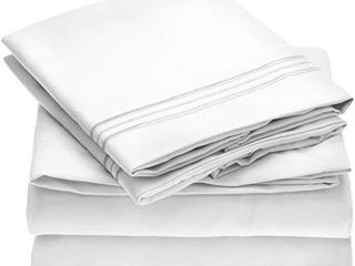 Mellanni Bed Sheet Set   Brushed Microfiber 1800 Bedding   Wrinkle  Fade  Stain Resistant   4 Piece  Queen  White