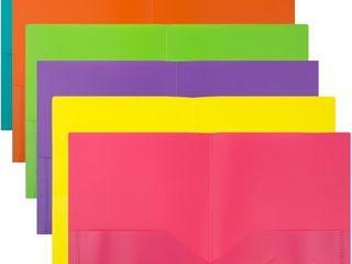 JAM 6pk 2 Pocket Plastic Folder   Fashion Colors