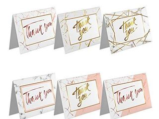 Elegant Blank Thank You Cards   Greeding Card with White Envelope For Weeding  Baby Shower And Anniversary Set Of 48   Greeding Card with 6 Marble Design 4 X6