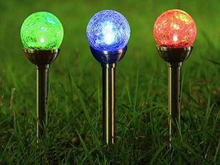 Twinkle Star Solar Pathway lights Crackle Glass Globe Solar lights  Set of 3