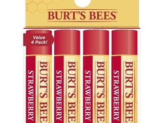 Burt s Bees 100  Natural Moisturizing lip Balm  Strawberry with Beeswax   Fruit Extracts   4 Tubes