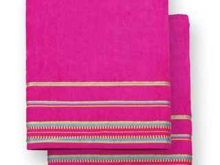 Ben Kaufman   Oversized 40  X 70  Stripe Color Velour Super Soft Beach and Pool Towel Set of 2 Pieces Easy Care  Extra large  PINK