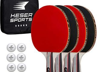 Keser Sports 5 Star Ping Pong Paddle Set a 4 Player Racket Set Bundle with 8 Professional ABS Balls and Portable Storage Bag Included  Advanced Spin  Speed and Control for Indoor Outdoor Table Tennis