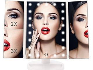 TheShineBright Trifold Illuminated Vanity Makeup Mirror with 21 lED  Touch Screen  180A Adjustable Stand  1x 2x 3x Magnification  Batteries and USB Charging