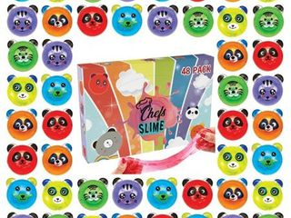ChefSlime   New  48 Pack Fluffy   Stretchy Animal Mud Slime Putty Non Sticky Stress Relief  Super Soft   Squishy Sludge Toy for Kids and Adults Jumbo Pack