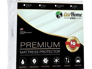 Eco Home USA Premium Mattress Pad Protector   Waterproof   Hypoallergenic Cover   Vinyl Free  Terry Cotton Topper  Twin