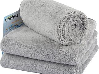 KinHwa Microfiber Car Drying Towels Super Absorbent large Car Wash Towels Scratch Free Car Cleaning Towels Ultra Soft Auto Detailing Towels 380gsm 16Inch x 24Inch 3 Pack Gray