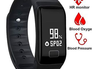 BONNIEWAN Fitness Tracker Waterproof Activity Tracker with Heart Rate Blood Pressure Blood Oxygen Monitor Smart Wristband with Pedometer Watch Calorie Counter Sleep Monitor Bluetooth Bracelet  Black