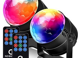 NEQUARE Party lights Sound Activated Disco lights Strobe light 7 lighting Color Disco Ball with Remote Control  2 Pack