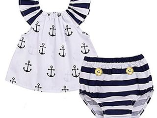 Infant Baby Girls Off Should Anchor Tops and Striped Briefs Outfits Set Sunsuit Clothes Tag Size 70 0 3M  White and Navy Blue