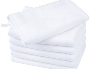KinHwa Microfiber Facial Cleaning Cloths Super Soft Washcloths for Face with Silky Satin Border 12Inch X 12Inch  6  White