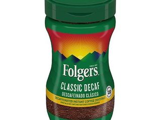 Folgers Decaffeinated Instant Coffee Crystals Classic Decaf  8 Ounce Jar