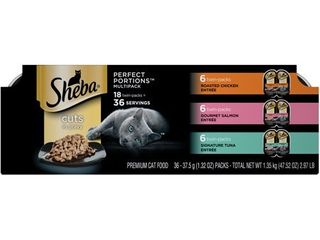 Sheba Perfect Portions Cuts In Gravy Chicken  Salmon   Tuna EntrAce Premium Wet Cat Food   2 6oz 18ct Variety Pack