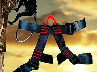 Rock Climbing Harness with lanyard   Safety Belt Fall Protection   Tree Climbing  Outdoor Activities  Training   Premium Quality Durable Material   Adjustable Sliding Back D Ring   Slotted Buckles