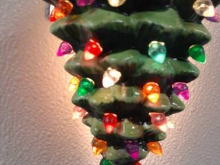 Painted Ceramic Christmas Tree Night light Multi colored Bulbs On Off Switch