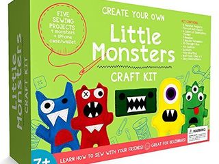 little Monsters Beginners Sewing Craft Kit for Kids  Ages 7 to 12  Educational Gift for Boys and Girls