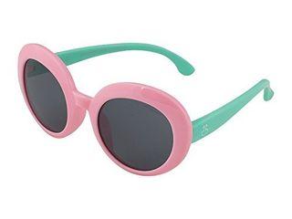 Kids Flexible Rubber Sunglasses UV Protection and Polarized lenses for Kids  Pink Frame   light Blue Temple