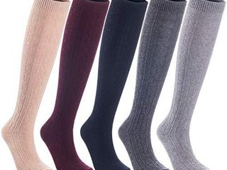 lian lifeStyle Women s 5 Pairs Exceptional Knee High Wool Boot Socks  Size 7 9 Assorted Colors