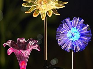 Bright Zeal Solar Stake lights  lED   Set of 3  Dandelion   lily   Sunflower Color Changing