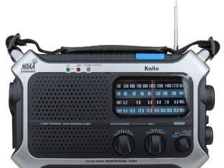 Kaito KA550 5 Way Powered AM FM Shortwave NOAA Weather Emergency Radio with PEAS  Public Emergency Alert System   Silver