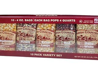 Amish Country Popcorn   10   4 oz Bags   Popcorn Kernel Variety Pack   10 Pack Assorted Varieties   Old Fashioned  Non GMO  Gluten Free  Microwaveable and Kosher with Recipe Guide  10   4 oz Bags