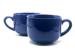 24 ounce Extra large latte Coffee Mug Cup or Soup Bowl with Handle   Cobalt Blue  Set of 2