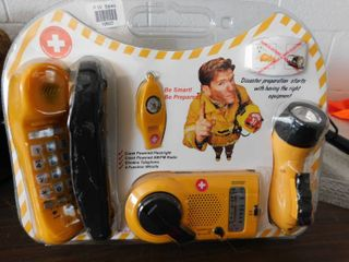 Emergency kit   phone   radio   flashlight   compass