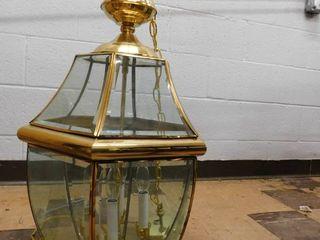 hanging brass and glass light fixture