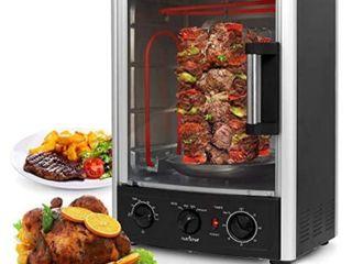 Nutrichef Upgraded Multi Function Rotisserie Oven   Vertical Countertop Oven with Bake  Turkey Thanksgiving  Broil Roasting Kebab Rack with Adjustable Settings  2 Shelves 1500 Watt