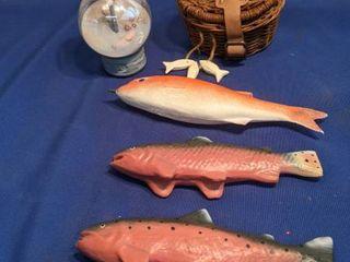 three fish fish basket and seagull globe