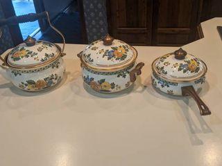 three piece set tea kettle bean pot and saucepan with lids