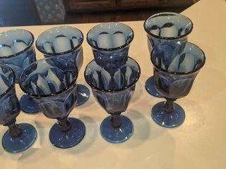8 Cobalt blue fruit goblets