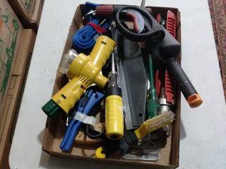 flat full of garden tools