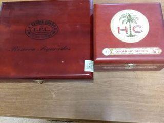2 beautiful wood cigar boxes