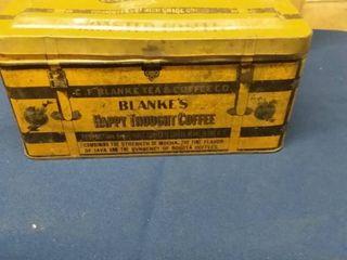 Vintage Blankes Happy Thought Coffee Tin 9 x 5 x 4 1 2