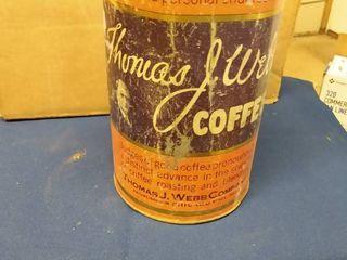 Vintage Thomas J  Webb Coffee Tin has no lid 5 1 2  across and 9 3 4  tall