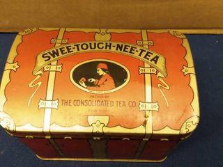 Vintage SWEE TOUCH NEE TEA Tin 5  x 3  x 3 3 4