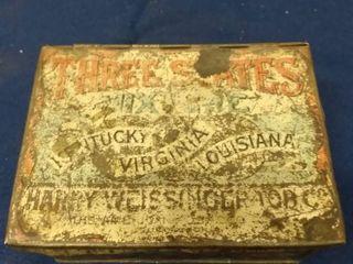 Vintage Three States Mixture Tobacco Tin 4 1 2  x 3 1 4  x 2